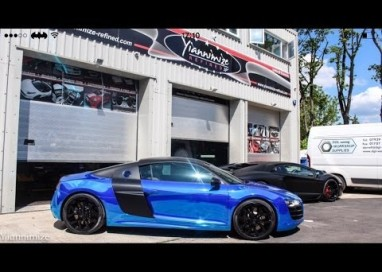 Audi R8 wrapped CHROME BLUE!